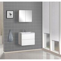 Bath Authority DreamLine Wall-Mounted Modern Bathroom Vanity with Porcelain Counter and Medicine Cabinet - White DLVRB-104-WH
