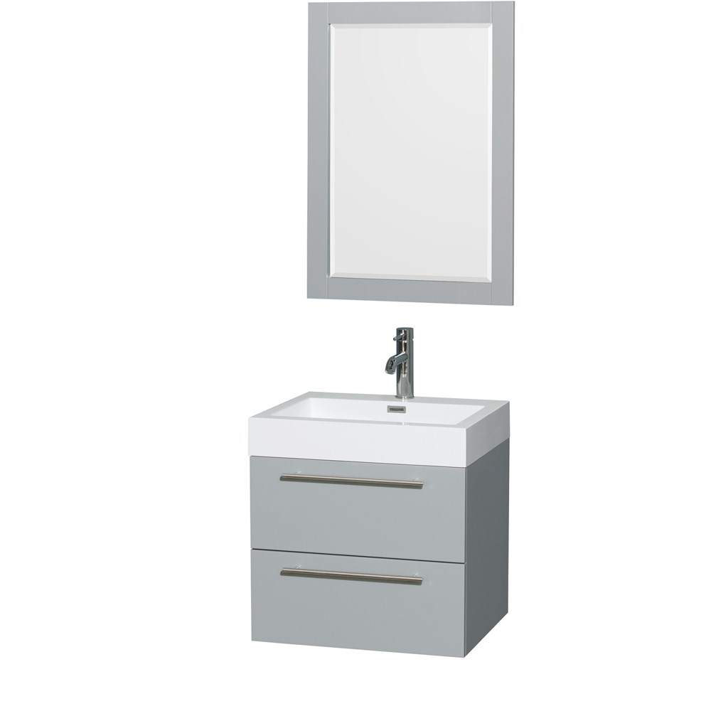 "Amare 24"" Single Bathroom Vanity in Dove Gray, Acrylic-Resin Countertop, Integrated Sink, and 24"" Mirror WCR410024SDGARINTM24"