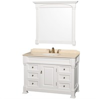 "Andover 48"" Traditional Bathroom Vanity Set by Wyndham Collection - White WC-TS48-WHT"