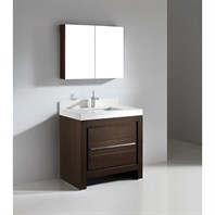 "Madeli Vicenza 36"" Bathroom Vanity with Quartzstone Top - Walnut Vicenza-36-WA-Quartz"