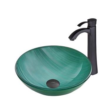 Vigo Whispering Wind Glass Vessel Sink and Otis Faucet Set in Matte Black Finish VGT774 by Vigo Industries