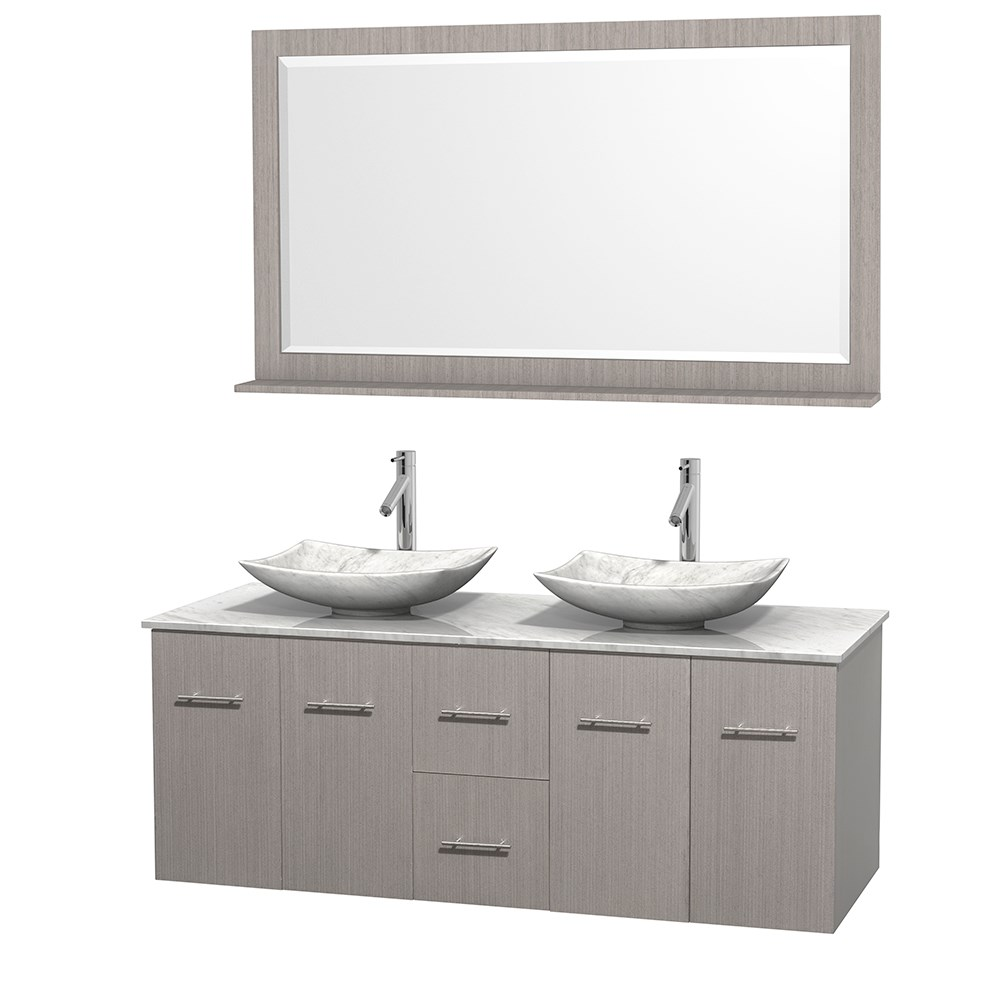 """Centra 60"""" Double Bathroom Vanity for Vessel Sinks by Wyndham Collection - Gray Oaknohtin Sale $1299.00 SKU: WC-WHE009-60-DBL-VAN-GRO_ :"""