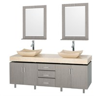 "Malibu 72"" Double Bathroom Vanity Set by Wyndham Collection - Gray Oak Finish with Ivory Marble Counter and Handles WC-CG3000H-72-GROAK-IVO"