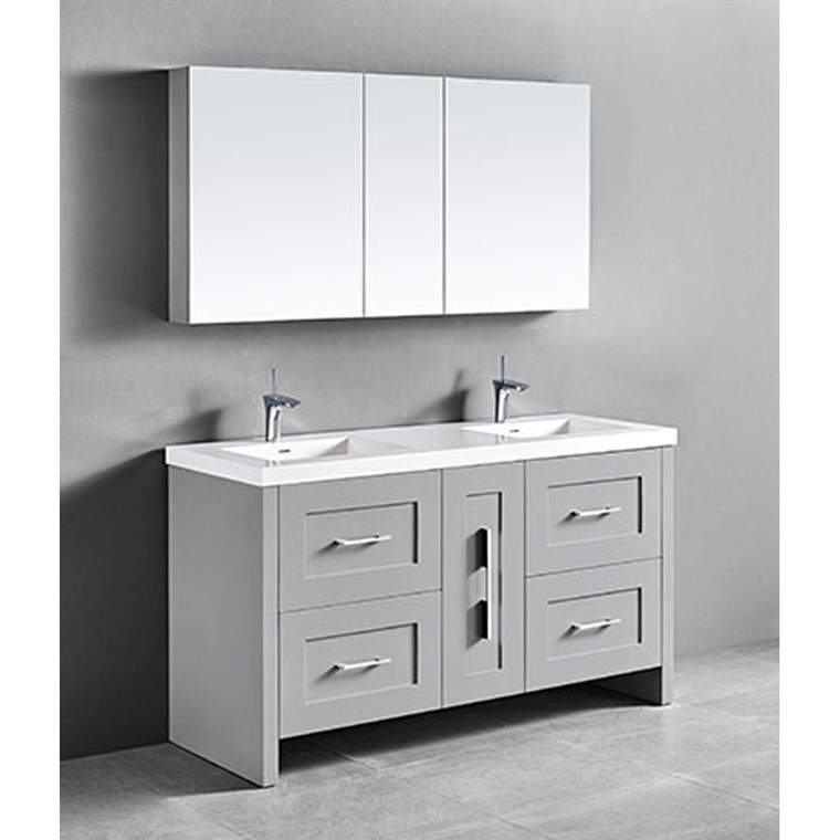 "Madeli Retro 60"" Double Bathroom Vanity for Integrated Basin - Whisper Grey B700-60D-001-WG"