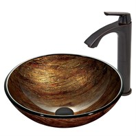 VIGO Amber Sunset Glass Vessel Sink and Linus Faucet Set in Antique Rubbed Bronze Finish VGT391