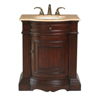 "Stufurhome 30"" Catherine single Sink Vanity with Travertine Marble Top - Cherry GM-3211-30-TR"