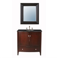 "Stufurhome 36"" Alicia Single Sink Vanity with Black Galaxy Granite Top and Mirror - Dark Cherry GM-6112-36-BG"