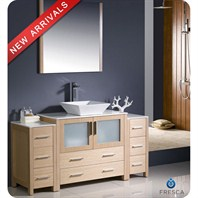 "Fresca Torino 60"" Light Oak Modern Bathroom Vanity with 2 Side Cabinets, Vessel Sink, and Mirror FVN62-123612LO-VSL"