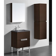 "Madeli Soho 24"" Bathroom Vanity for Quartzstone Top - Walnut B400-24-001-WA-QUARTZ"