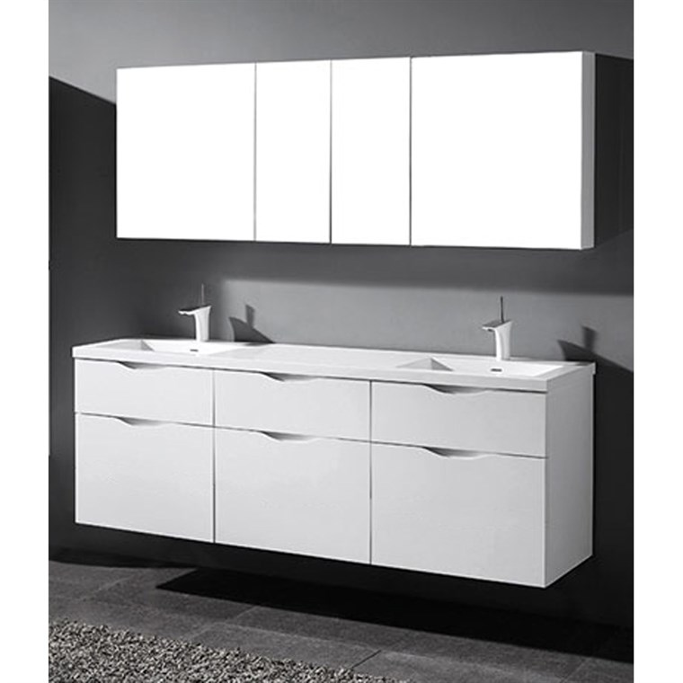 "Madeli Bolano 72"" Double Bathroom Vanity for Integrated Basin - Glossy White B100-72D-022-GW"
