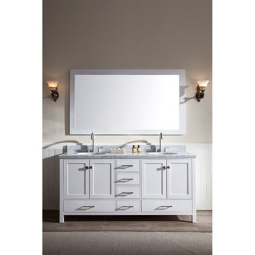 "Ariel Cambridge 73"" Double Sink Vanity Set with Carrera White Marble Countertop, White A073D-WHT by Ariel"