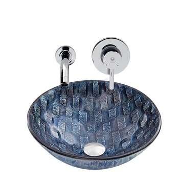 Vigo Rio Glass Vessel Sink and Olus Wall Mount Faucet Set in Chrome VGT851 by Vigo Industries