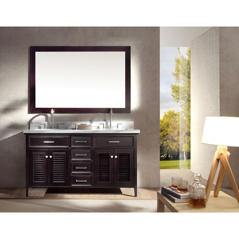 Ariel Kensington 61 Double Sink Vanity Set With Carrera White Marble Countertop Espresso Free Shipping Modern Bathroom