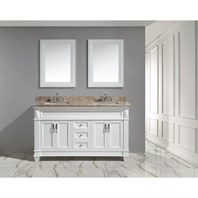 "Design Element Hudson 60"" Double Sink Vanity Set with Marble Top - White DEC059C-W-G"