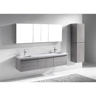 "Madeli Venasca 72"" Double Bathroom Vanity for Quartzstone Top - Ash Grey 2X-B990-24-002-AG, 2X-UC990-24-007-AG-QUARTZ"