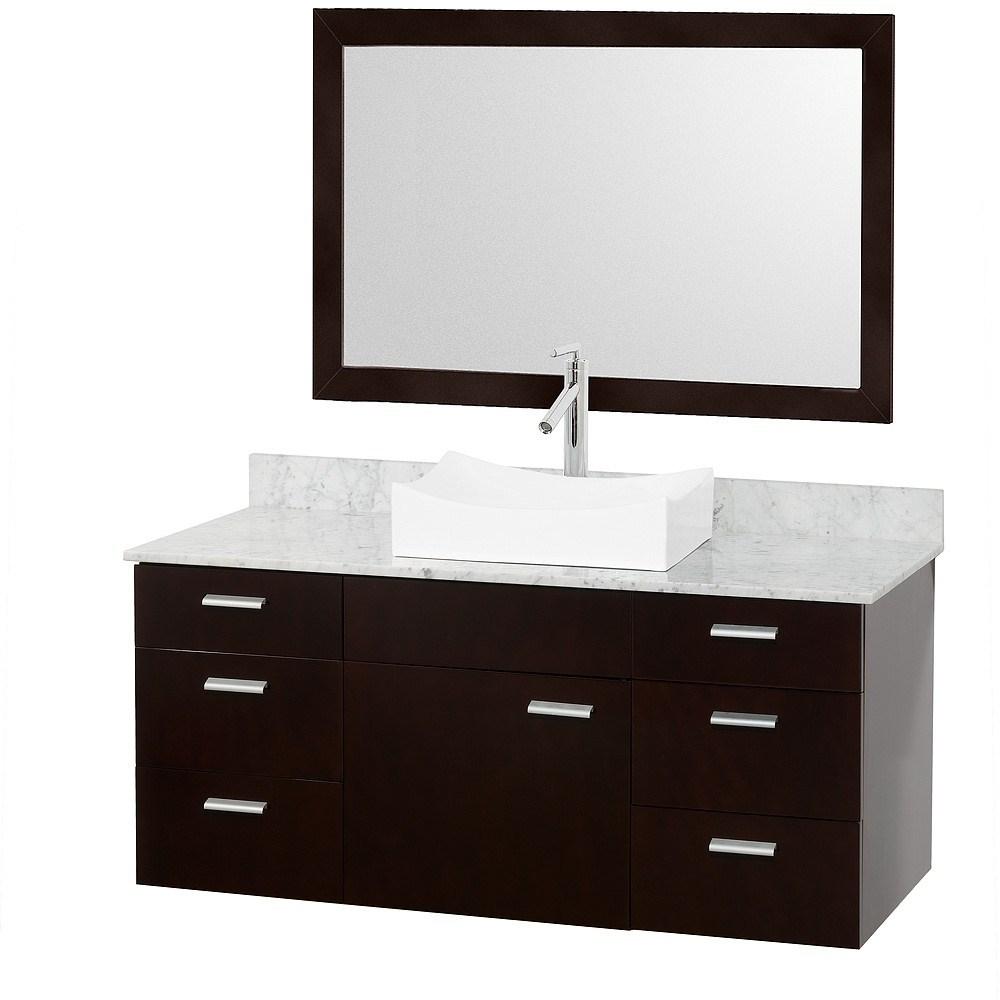 Encore 52 Bathroom Vanity Set Espresso With White Carrera Marble Countertop Free Shipping Modern