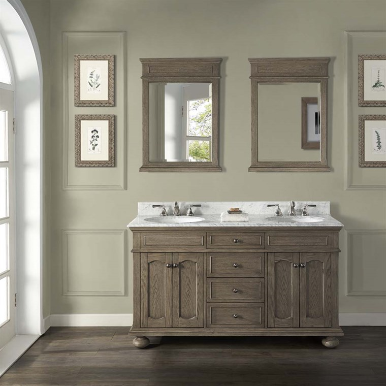 "Fairmont Designs Oakhurst 60"" Double Bowl Vanity for Undermount Oval - Antique Grey 1535-V6021D_"