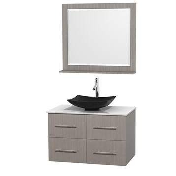 "Centra 36"" Single Bathroom Vanity for Vessel Sink by Wyndham Collection, Gray Oak WC-WHE009-36-SGL-VAN-GRO_ by Wyndham Collection®"