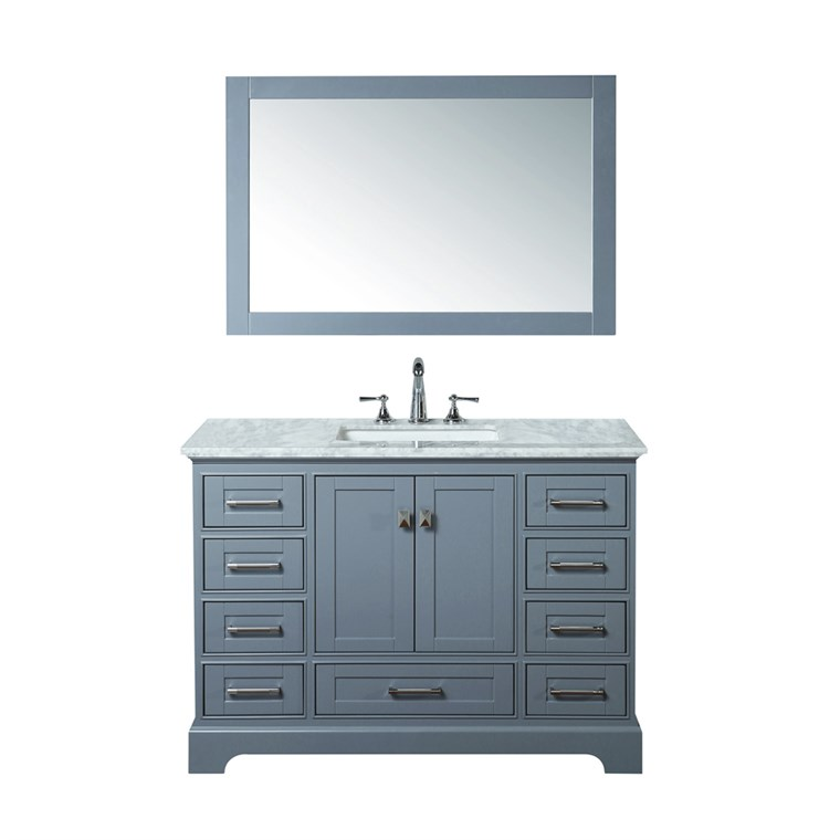 "Stufurhome Newport Grey 48"" Single Sink Bathroom Vanity with Mirror - Grey HD-7130G-48-CR"