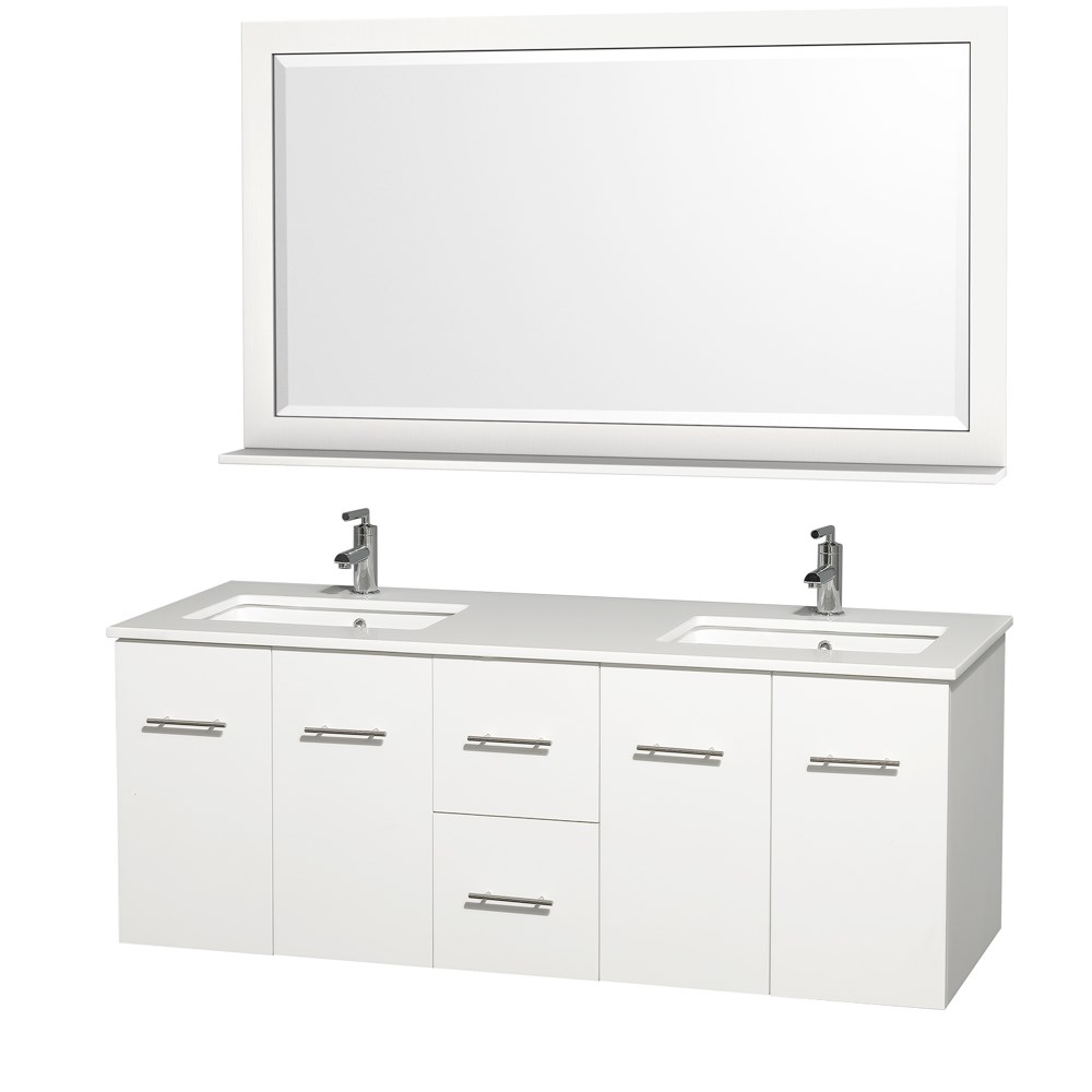 "Centra 60"" Double Bathroom Vanity for Undermount Sinks by Wyndham Collection - Matte Whitenohtin Sale $1299.00 SKU: WC-WHE009-60-DBL-VAN-WHT- :"