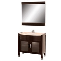 "Daytona  36"" Bathroom Vanity with Mirror - Espresso w/ Ivory Marble Counter"
