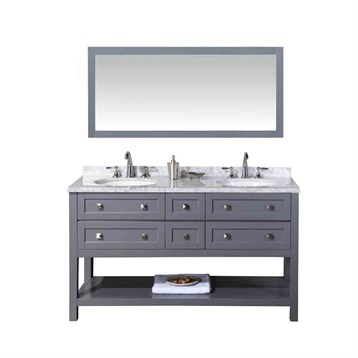 "Stufurhome Marla 60"" Double Sink Bathroom Vanity with Mirror, Grey HD-6868G-60-CR by Stufurhome"