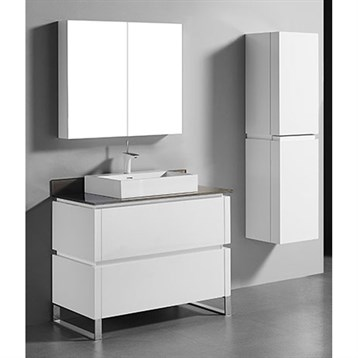 """Madeli Metro 42"""" Bathroom Vanity for Glass Counter and Porcelain Basin, Glossy White B600-42-001-GW-GLASS by Madeli"""