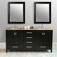 "Stufurhome 72"" Lissa Double Sink Vanity with Travertine Top GM-6412-72-TR"