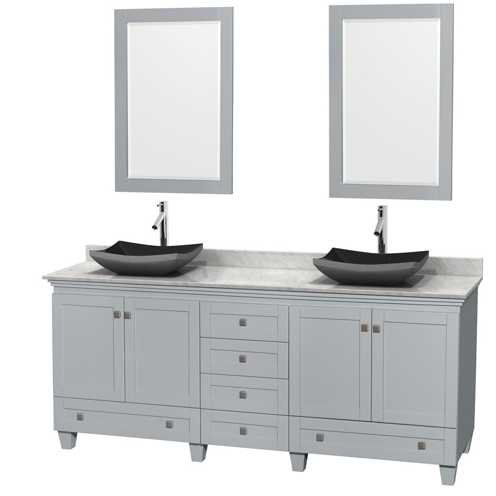"Acclaim 80"" Double Bathroom Vanity for Vessel Sinks by Wyndham Collection - Oyster Gray WC-CG8000-80-DBL-VAN-OYS"
