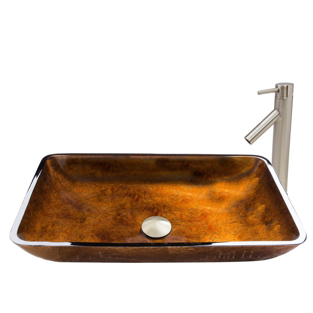 VIGO Rectangular Russet Glass Vessel Sink and Dior Faucet Setnohtin Sale $235.90 SKU: VGT491- :