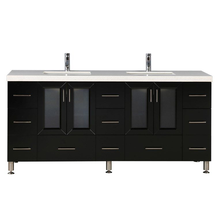 "Design Element Westfield 72"" Double Sink Vanity - Espresso WF-72"