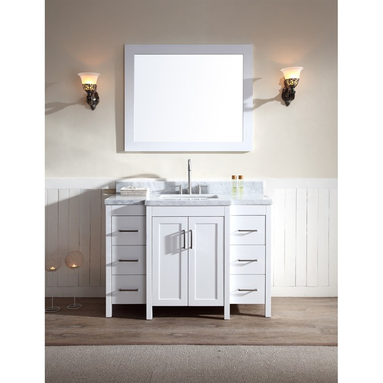"Ariel Hollandale 49"" Single Sink Vanity Set with Carrera White Marble Countertop - White E049S-WHT"