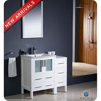 "Fresca Torino 36"" White Modern Bathroom Vanity with Side Cabinet, Integrated Sink, and Mirror FVN62-2412WH-UNS"