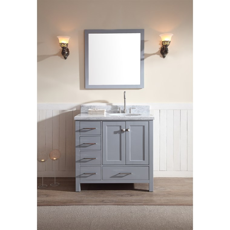 "Ariel Cambridge 37"" Single Sink Vanity Set with Right Offset Sink and Carrera White Marble Countertop - Grey A037S-R-GRY"