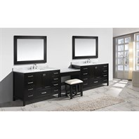 "Design Element London 138"" Double Sink Vanity Set with Make-up Table - Espresso DEC082DX2_MUT"