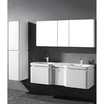 """Madeli Euro 60"""" Double Bathroom Vanity for Integrated Basins, Glossy White 2X-B930-24-002-GW, UC930-12-007-GW by Madeli"""