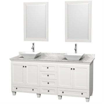 """Acclaim 72"""" Double Bathroom Vanity for Vessel Sinks by Wyndham Collection, White WC-CG8000-72-DBL-VAN-WHT by Wyndham Collection®"""