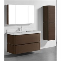 "Madeli Cube 48"" Single Wall-Mounted Bathroom Vanity for Quartzstone Top - Walnut B500-48C-002-WA-QUARTZ"