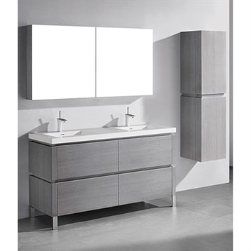 "Madeli Metro 60"" Double Bathroom Vanity for Integrated Basin, Ash Grey B600-60D-001-AG by Madeli"
