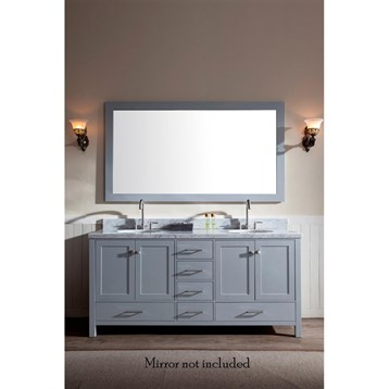 "Ariel Cambridge 73"" Double Sink Vanity With Carrara White Marble Countertop - Grey"