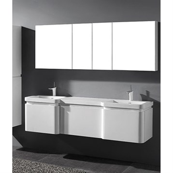 """Madeli Euro 72"""" Double Bathroom Vanity for Integrated Basins, Glossy White 2X-B930-24-002-GW, UC930-24-007-GW by Madeli"""