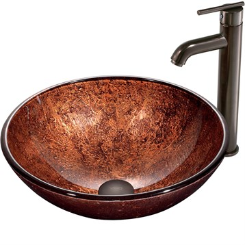 Vigo Mahogany Moon Glass Vessel Sink and Faucet Set in Oil Rubbed Bronze VGT170 by Vigo Industries