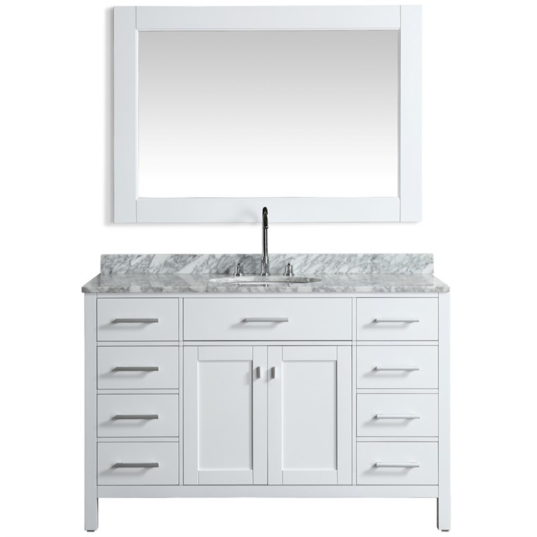 "Design Element London Stanmark 54"" Single Sink Vanity Set - White DEC076H-W-WT"
