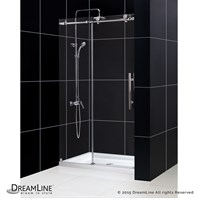 "Bath Authority DreamLine Enigma-X Fully Frameless Sliding Shower and SlimLine Single Threshold Shower Base (36"" by 48"") DL-6619C"