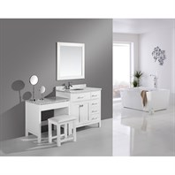 "Design Element London 36"" Vanity Set with a Make-up Table - White DEC076D-W_MUT-W"