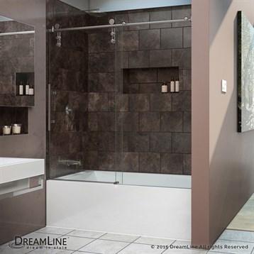"""Bath Authority DreamLine Enigma-Z Frameless Sliding Tub Door, 56"""" to 69"""" SHDR-6260620 by Bath Authority DreamLine"""