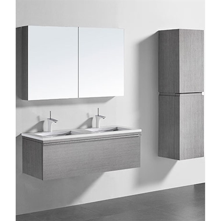 "Madeli Venasca 48"" Double Bathroom Vanity for Quartzstone Top - Ash Grey B990-48D-002-AG-QUARTZ"