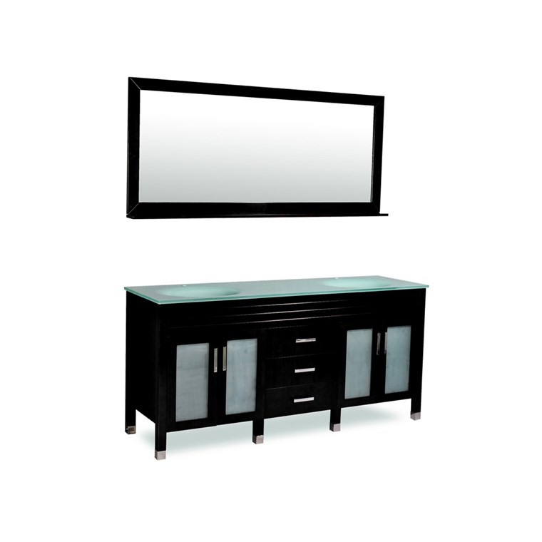 "Belmont decor Dayton 72"" Double Sink Vanity Set with Aqua Marine Tempered Glass Countertop - Black DM1D3-72-BLK"