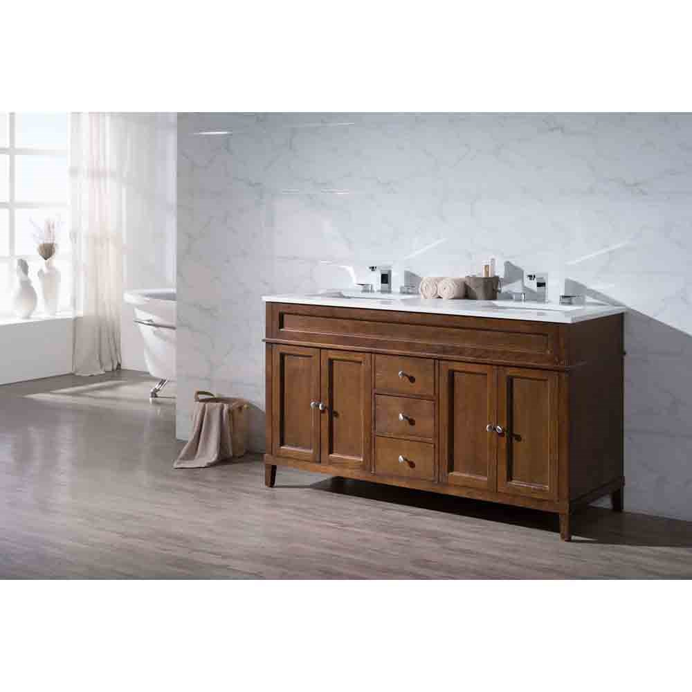 "Stufurhome Hamilton 59"" Double Sink Bathroom Vanity with White Quartz Top - Natural Wood 