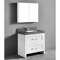 "Madeli Retro 36"" Bathroom Vanity for Quartzstone Top - Matte White B700-36-001-MW-QUARTZ"